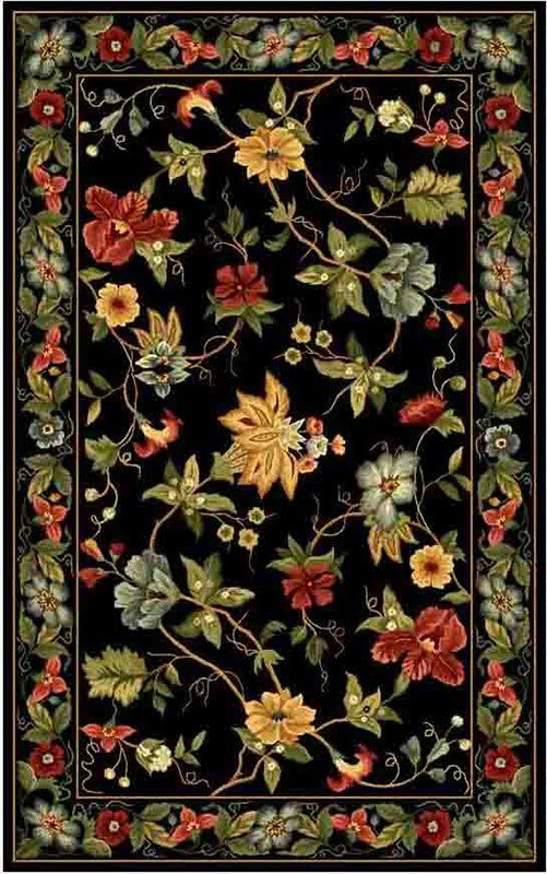 Helena Hand Hooked Wool Black Red Green Area Rug Floral Area
