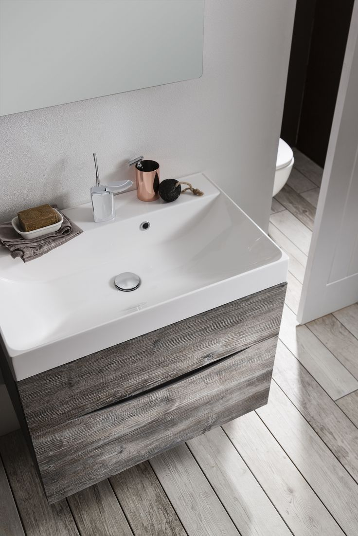 The perfect way to bring the outdoors in to homes, pair the Driftwood finish with timeless white bathroom fittings to achieve a minimalist Scandinavian space - Glide II 70 Unit & Cast Mineral Marble Basin in Driftwood finish from Bauhaus. http://www.crosswater.co.uk/product/furniture-furniture-collections-browse-by-range-glide-ii/glide-ii-70-unit-and-cast-mineral-marble-basin-glideii70-unit-marble/