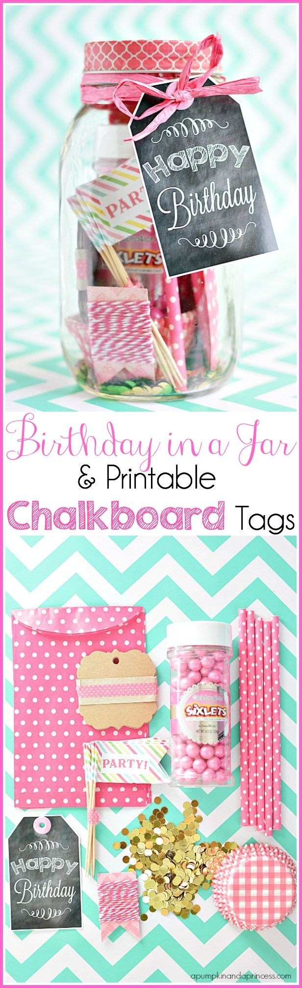 Birthday In A Jar {Birthday Printable Tags} - A Pumpkin And A Princess