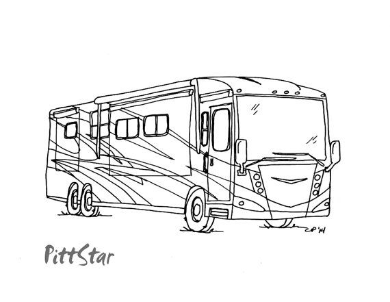 free happy camper coloring pages   Instant Download - Happy Glamper Motorhome - Printable ...