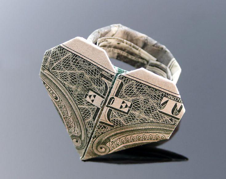 dollar bill origami heart ring by craigfoldsfives on