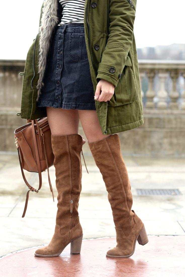 Topshop Parka (identical)   Dolce Vita Boots   Topshop Button Up Skirt   Express Tee   Rebecca Minkoff Satchel   ...