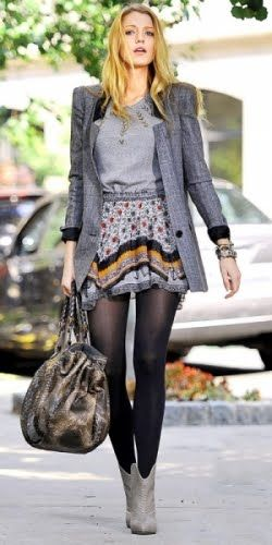 Blake Lively - Grey Coat, Tee and Boots. Printed Skirt. Black Tights.
