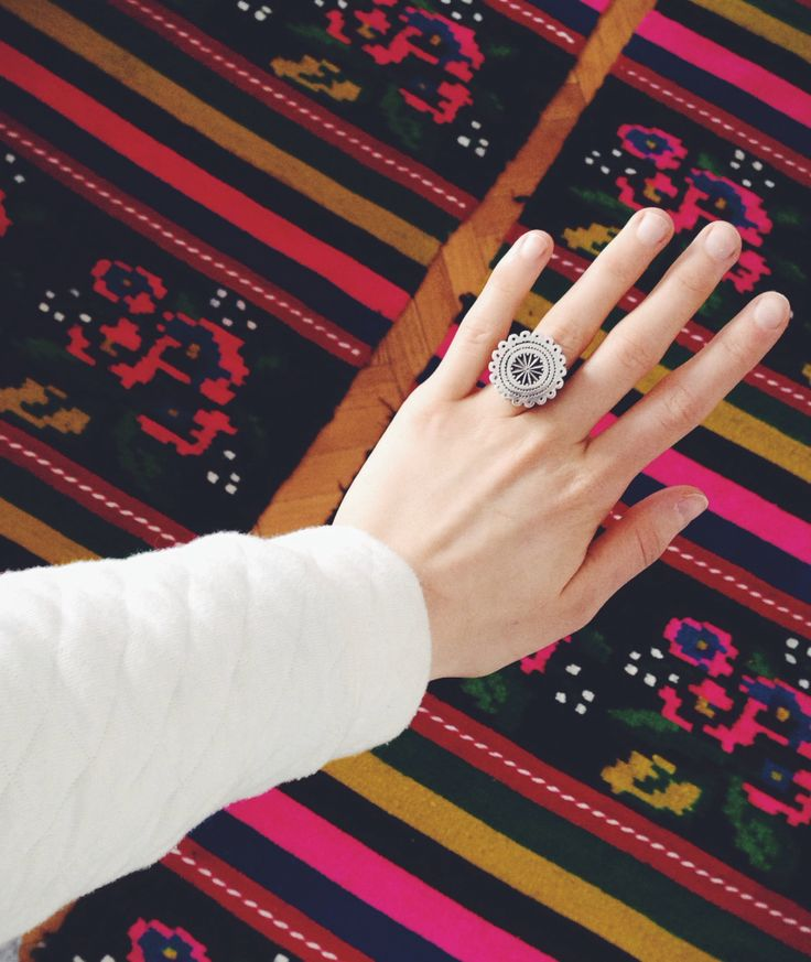 Silver Ring, Contemporary Jewelry, Ancestral Symbols
