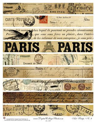 Instant Download French Digital Collage by DigitalCollageSheets