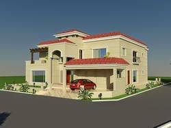 3D Front Elevation.com: 60' X 100' Wapda Town 1 Kanal House Design 3D Front elevation in Lahore, Pakistan