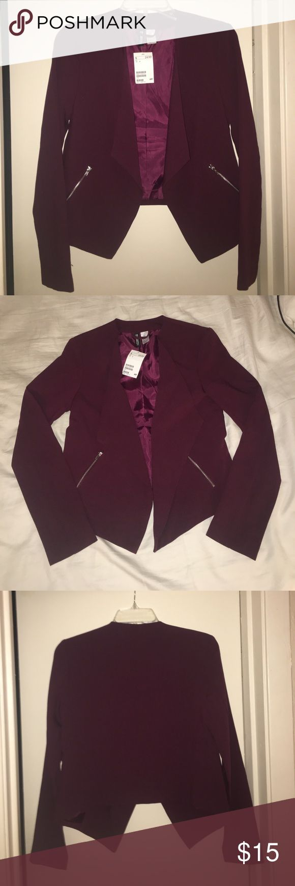 NEW WITH TAGS - H&M Maroon Blazer NEVER BEEN WORN - Maroon Blazer with silver zipper detail H&M Jackets & Coats Blazers