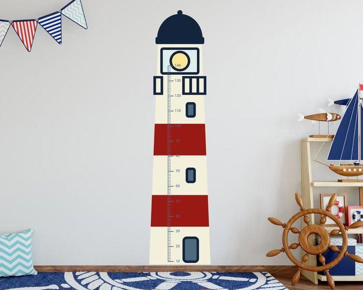 Amazing Kinderzimmerdekoration Wandtattoo Messlatte Leuchtturm ein Designerst ck von TinyFoxes bei DaWanda