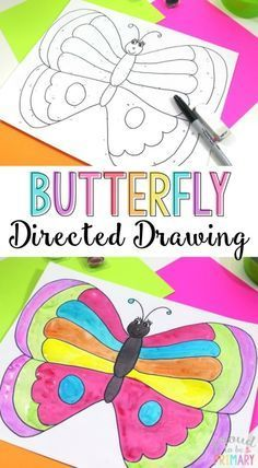 This spring butterfly directed drawing creates a beautiful result and perfect for your spring lessons.