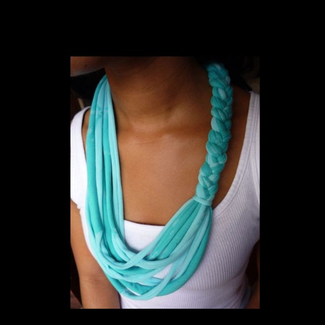Cute scarf type necklace from old T-shirt; cut shirt into strips and partially braid together.