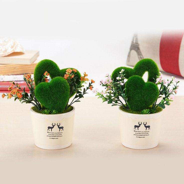 Artificial Heart Shaped Grass Silk Flowers Bouquet with Vase  #heart #grass #artificialflowers #homedecor #onlineshop #homedesign