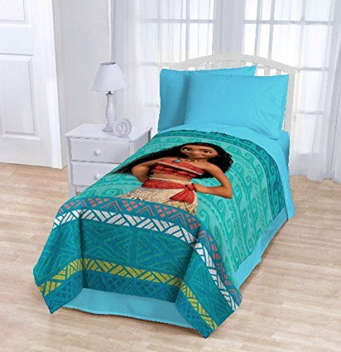 1 Piece Disney The Wave Movie Blanket Twin, Featuring Character Moana, All Over Aztec Pattern, Geometric Horizontal Hawaii Stripes Theme, Hawaiian Waves Coastal Ocean Reef Themed, Aqua Light Blue