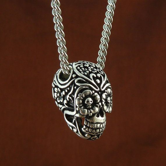 Antique Silver Day of the Dead Skull Pendant Necklace $60
