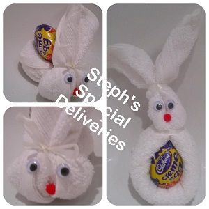 small chocolate egg and face cloth rabbit