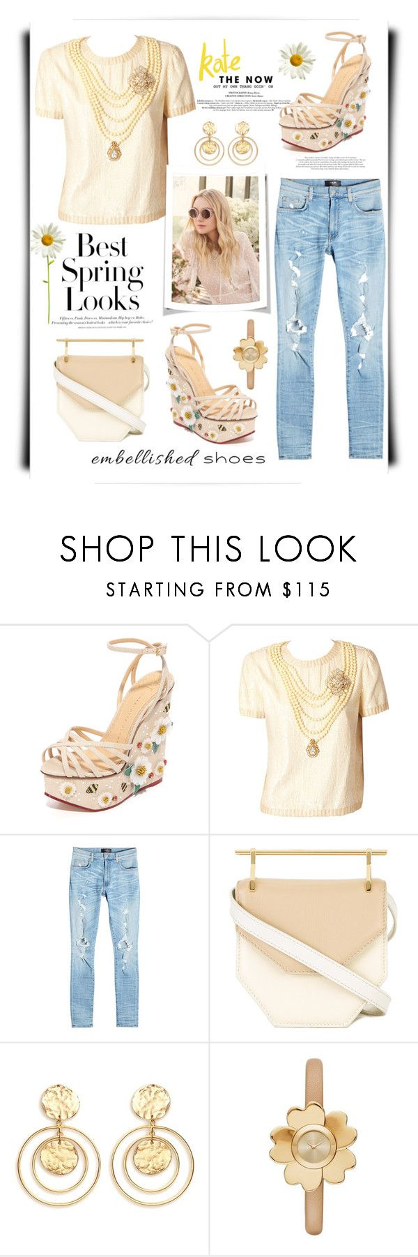 """Spring Fling"" by terry-tlc ❤ liked on Polyvore featuring Charlotte Olympia, Bill Blass, Jimmy Choo, AMIRI, H&M, M2Malletier, Kenneth Jay Lane and Michael Kors"