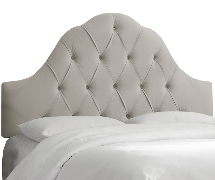 Full Arch Tufted Headboard In Velvet Light Gray