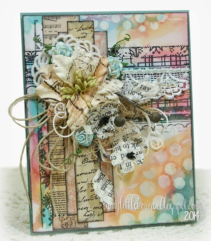 In My Little Korner: Mixed Media Shabby Chic for Any Occasion...uses Lindy's Stamp Gang sprays for color mediums...