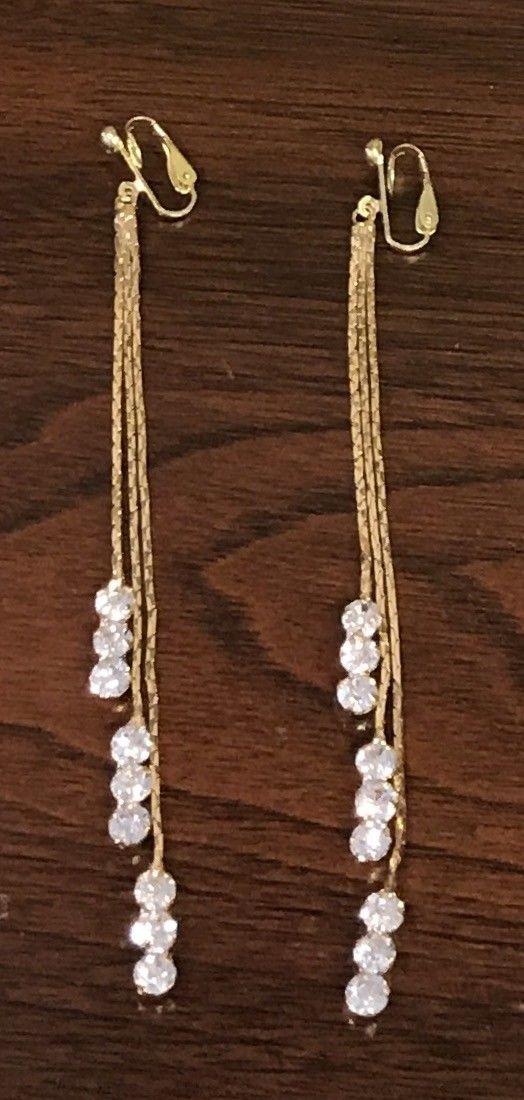 Gold Long Snake Chain Sparkle Rhinestone Tassel Clip-On Dangle Cocktail Earrings