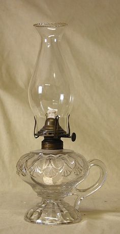 Antique Victorian EAPG Erin Fan Pattern Glass Oil Kerosene Footed Finger Lamp