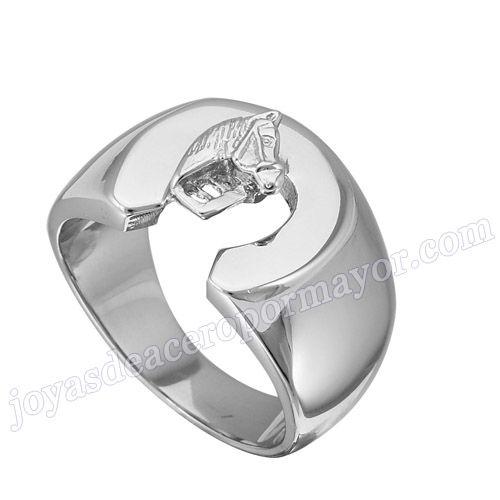 Material: Acero Inoxidable   Nombre:Anillo plateado de  precio de acero con forma caballero   Model No.:SSRG127   Peso:12.3G