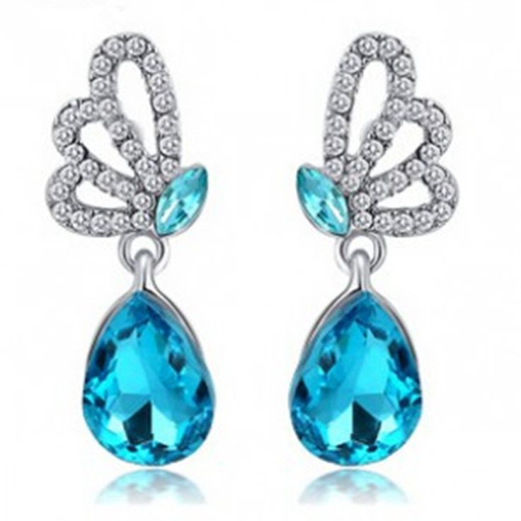 European and American jewelry full Fangzuan selling crystal earrings butterfly earrings wholesale manufacturers