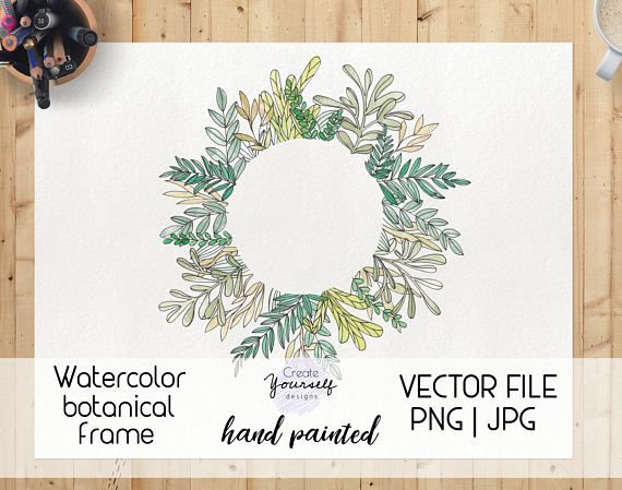 Hand painted leafy watercolor frame element. NOTE!: This purchase is a digital file, nothing will be sent to You via mail. ---The file included can be seen in the pictures above. ---Perfect for designing invites, announcement cards or scrapbooking or any kind of decoration for