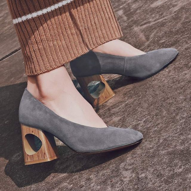 2017 Krazing Pot shoes women fashion hollow med heels genuine leather pumps  slip on ladies shoes