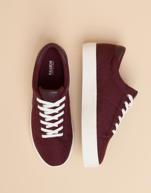 Pull&Bear - woman - pacific girls - college block plimsolls - burgundy - 15730011-I2015