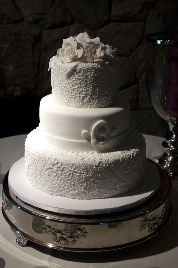 Hand Piped White On Wedding Cake