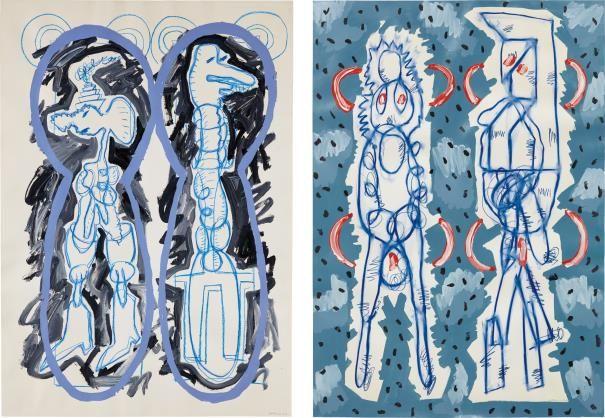 LUIS GORDILLO Two works: (i) Adam y Eva con Fundo Negro (ii) Adam y Eva con Parentesis Rojos each signed 'GORDILLO 83' lower right oil on paper each 99.7 x 54.6 cm (39 1/4 x 21 1/2 in.) Painted in 1983.