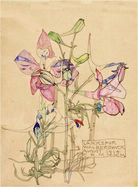 Larkspur by Charles Rennie Mackintosh & Margaret MacDonald Mackintosh, August 1914