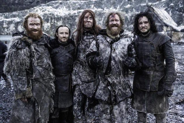 Mastodon on Game of Thrones: Mastodon band members Brann Dailor, Bill Kelliher and Brent Hinds (here with Ben Crompton and Kit Harington) appear in the episode Hardhome (season 5, episode 8) as wildling extras who get murdered by white walkers and are then resurrected. How cool is that?? :-)