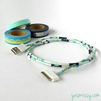 How to make DIY Washi tape USB power cord decoration step by step tutorial instructions