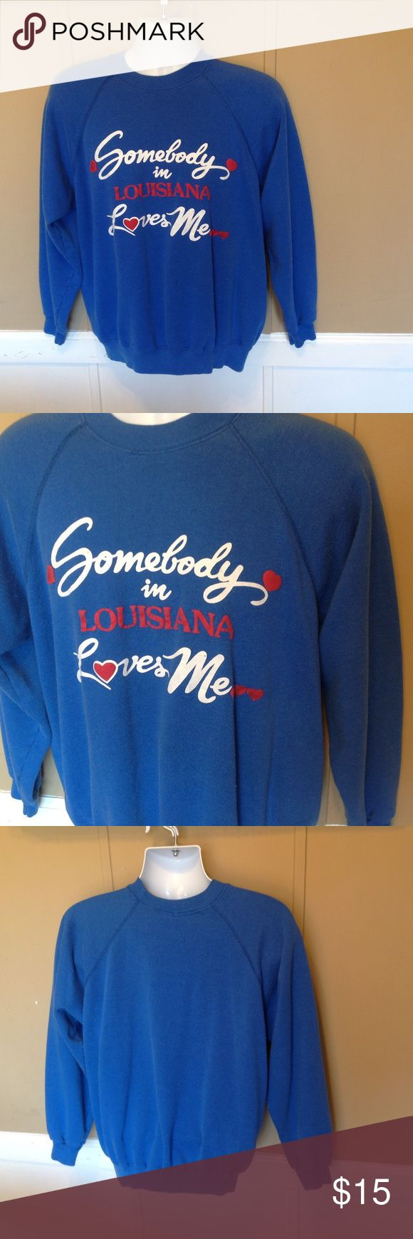 "Vintage 80s SOMEONE Loves Me Sweatshirt Maker: Hanes  ♥  Material: 50/50 Poly Cotton  ♥  Color: Royal Blue  ♥  Measured Size:  Pit to pit- 22""  Pit to cuff-19""  Shoulder to waist-25""  ♥  Tag Size:Xl  ♥  Actual Size: Adult Large   PLEASE CHECK YOUR ACTUAL MEASUREMENTS TO MAKE SURE IT IS THE RIGHT SIZE! THANKS!  ♥ Condition: Great Hanes Tops Sweatshirts & Hoodies"