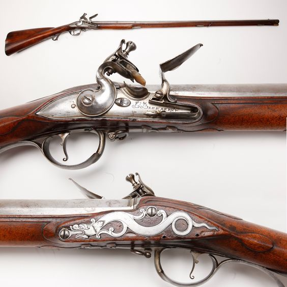 Swedish Flintlock Fusil – Long before Sweden became known for IKEA, they manufactured some good looking guns. This lightweight .63 caliber flintlock fusil was made around 1700 by Johann Blekberg. About this time, Swedish settlers were exploring the area that would become New Jersey. In this wild area, a fusil such as this would have been an essential tool for the settlers, both for hunting and protection.