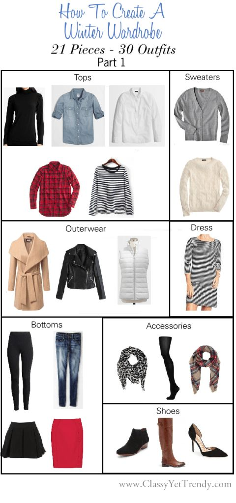 See how you can create a winter wardrobe and get 30 outfits from 21 clothes and accessories!
