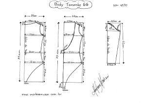 Molde de Body tamanho GG (50/52).