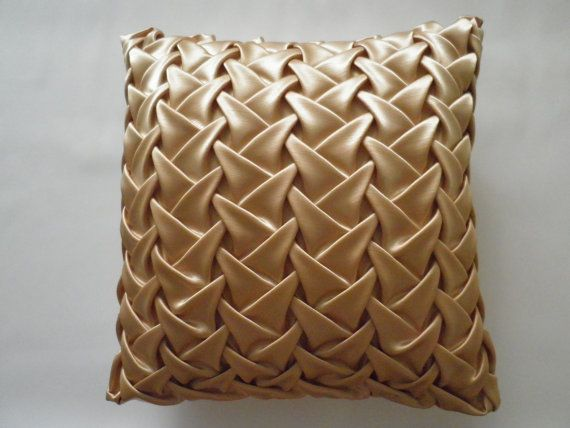Smocked Throw Pillow Beige Cushion Cover,Beige Pillowcase,Beige Throw Pillow,Satin Cushion 16x16 inch( 40x40 cm),HOUSEWARMING GIFT