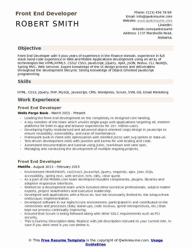 Front End Developer Resume Template Luxury Front End Developer Resume Samples Web Developer Resume Job Resume Examples Resume Template