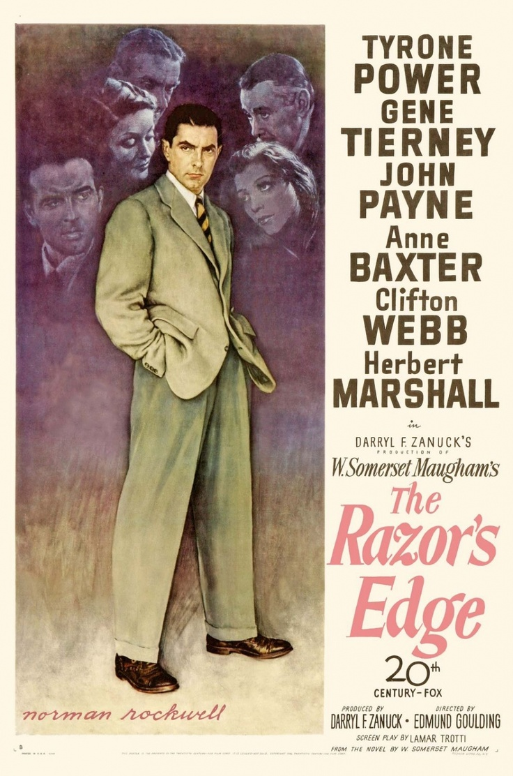 The Razor's Edge, 1946 - Anne Baxter won an Oscar for Best Actress in a Supporting Role. Poster by Norman Rockwell.
