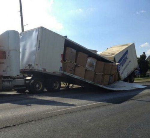 funny semi truck fail