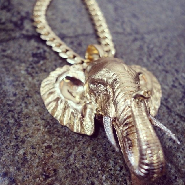 18 best jewelry pieces with animals images on pinterest animal colossal solid 14k gold elephant custom made pendant with italy made miami cuban link chain aloadofball Image collections