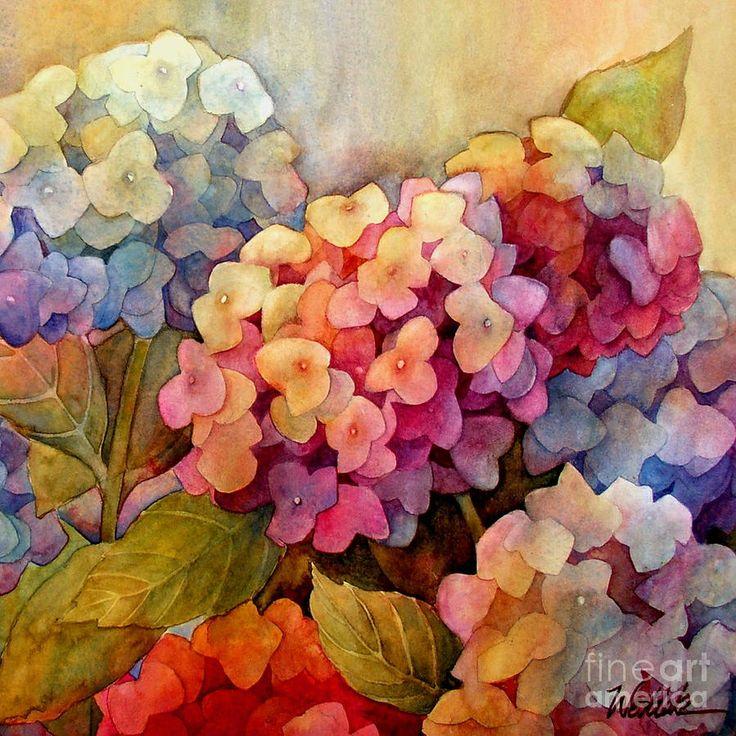 Hydrangeas - by Wendy Westlake (watercolor, blooms, blossoms, flowers, posies)