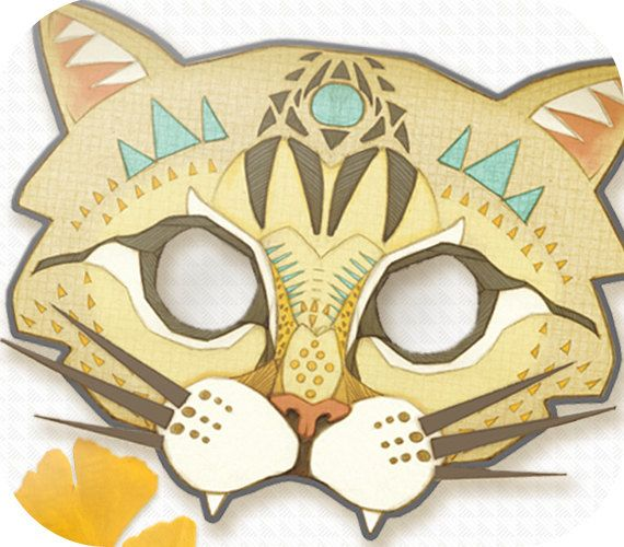 caterpillar mask template - printable diy halloween fierce cat mask by hunterandmoon