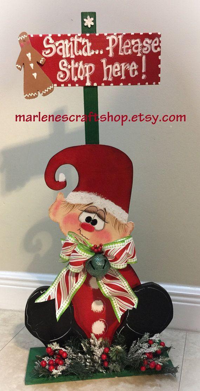 Christmas elf sign/North pole elf sign/ elf by MarlenesCraftShop