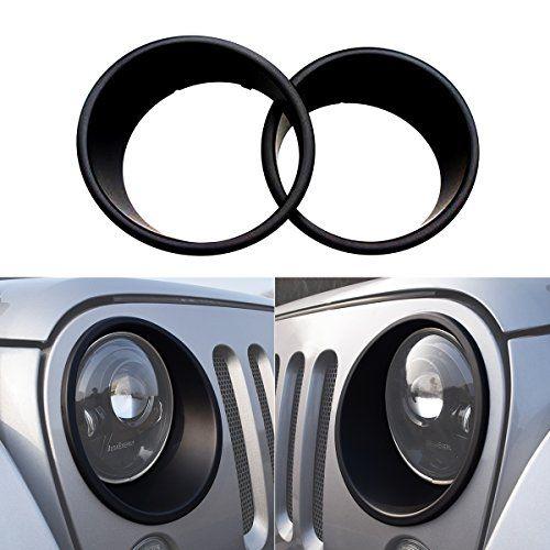 ICars Black Front Headlight Trim Cover Bezels Pair Jeep Wrangler Rubicon Sahara Sport JK Unlimited Accessories 2 door 4 door 2007 - 2016. For product info go to:  https://www.caraccessoriesonlinemarket.com/icars-black-front-headlight-trim-cover-bezels-pair-jeep-wrangler-rubicon-sahara-sport-jk-unlimited-accessories-2-door-4-door-2007-2016/