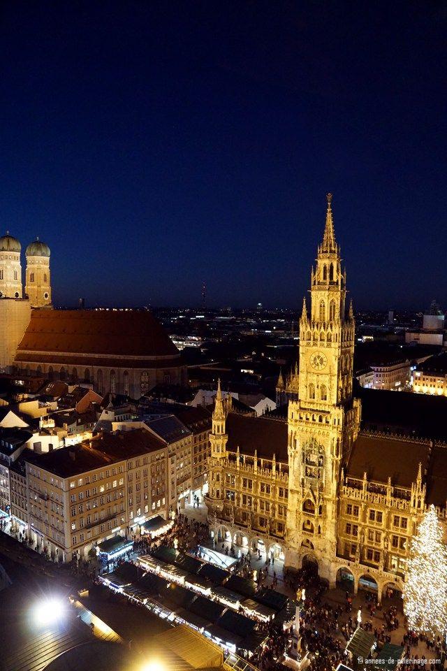 The munich christmas market seen from atop Alter Peter church tower