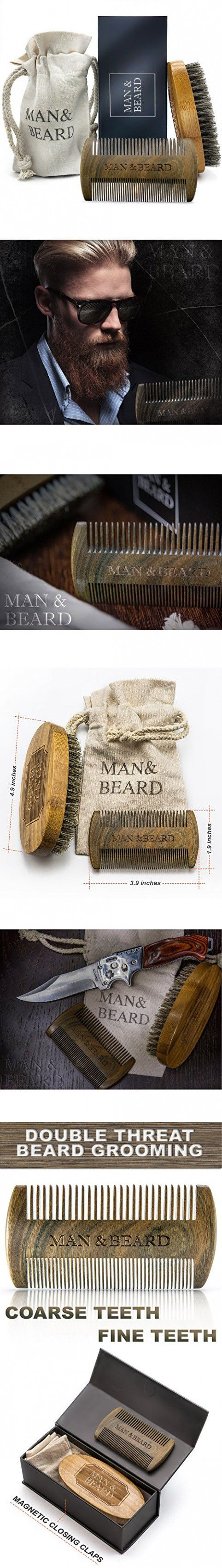 Man&Beard - Handmade Bamboo Beard Dual Action Comb and Bamboo Brush with Wild Boar Bristles for Men. Perfect Facial Hair Care and Growth Kit for Beard and Mustache Styling in Premium Gift Box