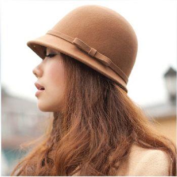 Moda moda mujer pura lana chapeau sombrero de fedora ladies color sólido ala corta de moda vestido de lana sombreros de ala