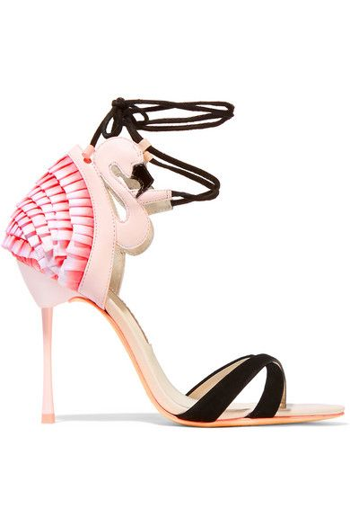 Heel measures approximately 100mm/ 4 inches Pastel-pink leather, tonal-pink satin, black suede and patent-leather Ties at ankle  Small to size. See Size & Fit notes.